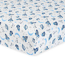 Gerber® Outer Space Organic Cotton Fitted Crib Sheet in White/Blue