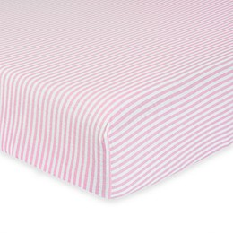 Gerber® Stripe Organic Cotton Fitted Crib Sheet in Pink/White
