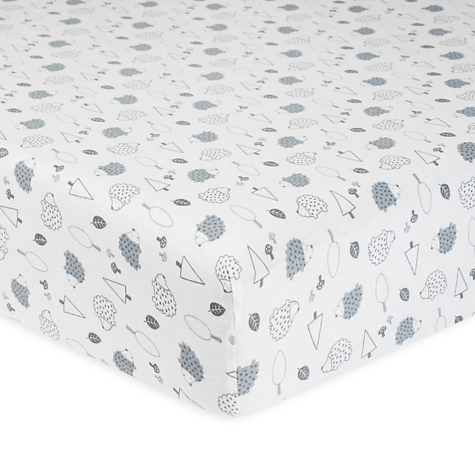 Alternate image 1 for Gerber® Hedgehog Organic Cotton Fitted Crib Sheet in Grey/White