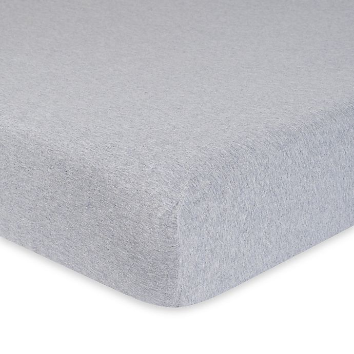 Alternate image 1 for Gerber® Heather Organic Cotton Fitted Crib Sheet in Grey