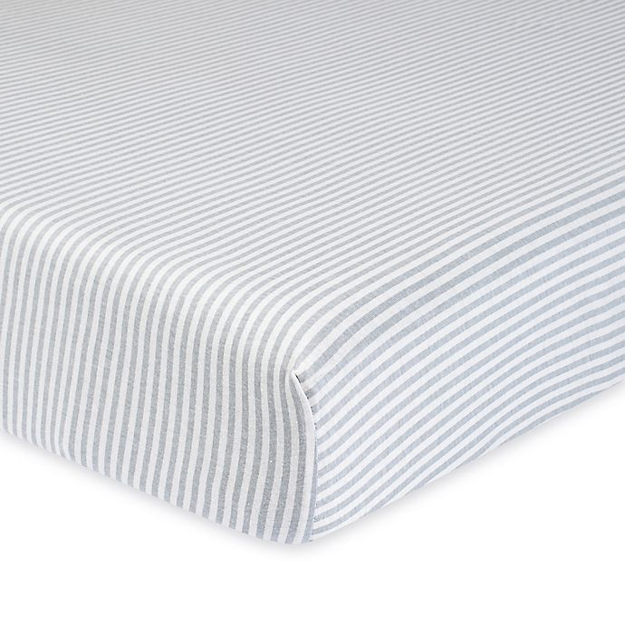 Alternate image 1 for Gerber® Stripe Organic Cotton Fitted Crib Sheet in Grey/Ivory