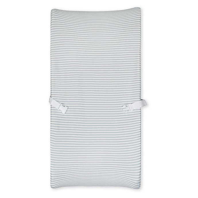 Alternate image 1 for Gerber® Grey Striped Organic Cotton Changing Pad Cover
