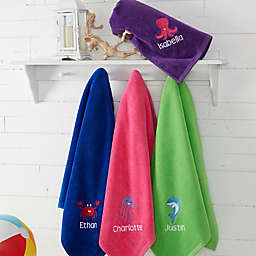 Sea Creatures Embroidered Beach Towel Collection