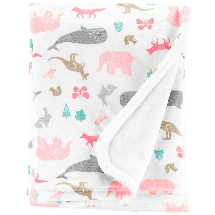 Alternate image 1 for carter's® Animal Velboa Receiving Blanket
