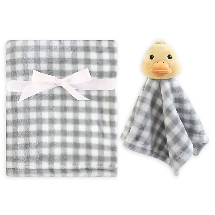 Alternate image 1 for Hudson Baby® Duck Security Blanket Set in Yellow/Grey