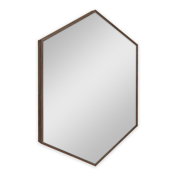 Alternate image 1 for Kate and Laurel Rhodes Hexagon 22-Inch x 31-Inch Mirror in Brown