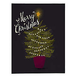 Deny Designs Merry Christmas Little Tree 8-Inch x 10-Inch Canvas Wall Art