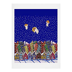 Deny Designs 3 Christmas Angels 11-Inch x 14-Inch Paper Wall Art