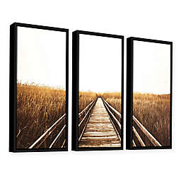 Fall Walk Float Frame 3-Piece Canvas Wall Art in Brown