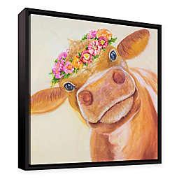 Julie Joy Zen Cow Framed Canvas Wall Art in Brown