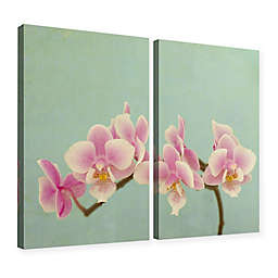 Pink Orchid Diptych Gallery Canvas Wall Art in Blue