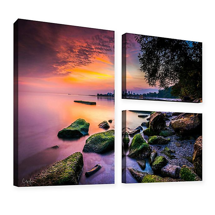 Alternate image 1 for Cleveland Ohio Sunrise At Edgewater Beach 36-Inch x 48-Inch Canvas Wall Art (Set of 3)