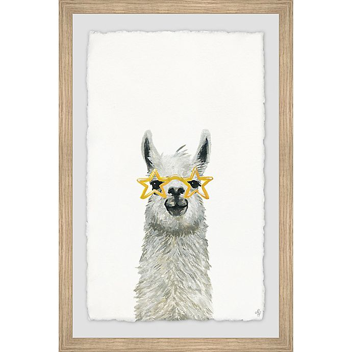 Alternate image 1 for Marmont Hill Yellow Star Llama 12-Inch x 18-Inch Framed Wall Art