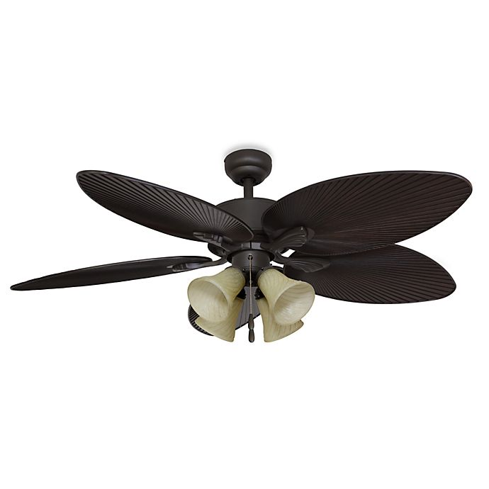 52 Gauguin Tropical 4 Blade Indoor Outdoor Ceiling Fan: Palm Clay 52-Inch 4-Light Ceiling Fan