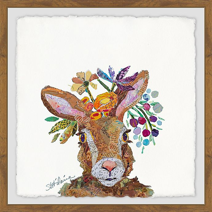 Alternate image 1 for Marmont Hill Bunny Flowers 24-Inch Squared Framed Wall Art