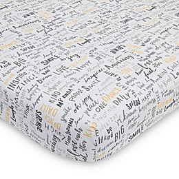 ED Ellen DeGeneres Woodland Word Friends Cotton Fitted Crib Sheet in Grey