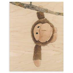 Monkey Baby 11-Inch x 14-Inch Wood Wall Art