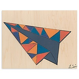 Airplane Triangle 16-Inch x 20-Inch Wood Wall Art