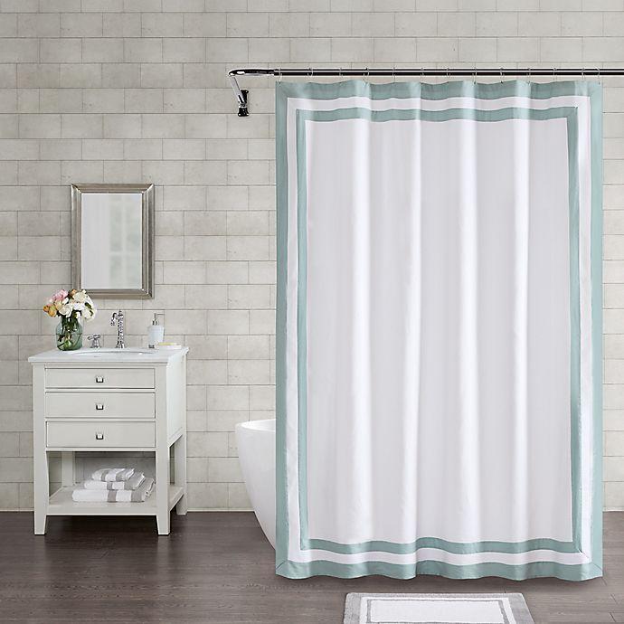 Alternate image 1 for Wamsutta® Hotel Border 72-Inch Square Shower Curtain in Aqua