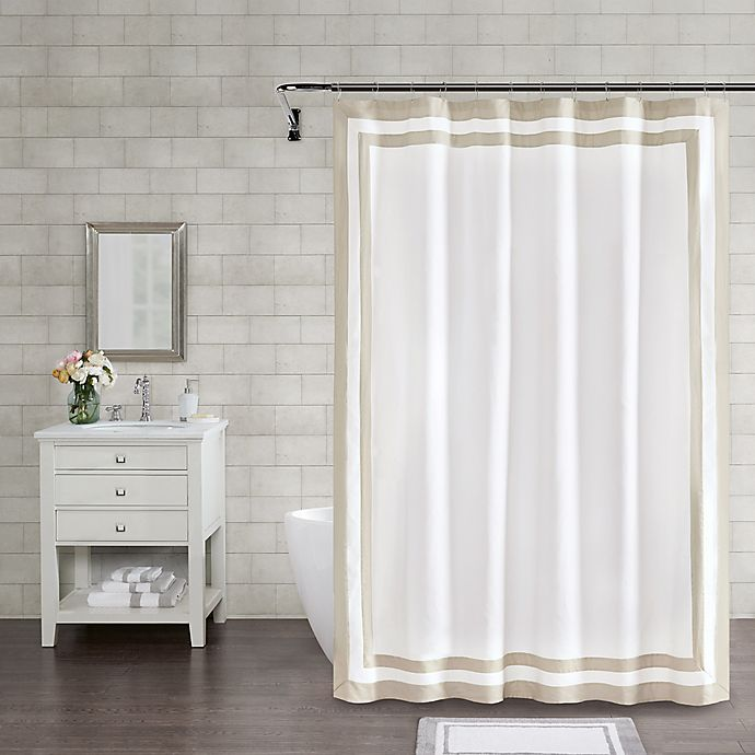 Alternate image 1 for Wamsutta® Hotel Border 84-Inch x 72-Inch Shower Curtain in Taupe