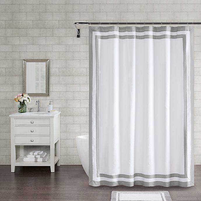 Alternate image 1 for Wamsutta® Hotel Border 72-Inch Square Shower Curtain in Grey