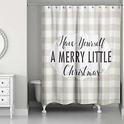 """Designs Direct """"Merry Little Christmas"""" Shower Curtain in Brown"""
