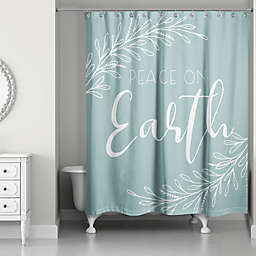 Designs Direct Peace On Earth Shower Curtain In Green