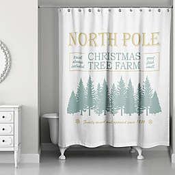 Designs Direct North Pole Christmas Tree Farm Shower Curtain