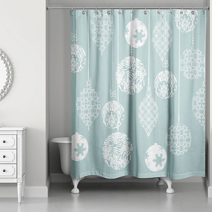 Designs Direct Ornament Shower Curtain In Teal/White