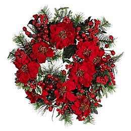 Nearly Natural 24-Inch Artificial Poinsettia Wreath