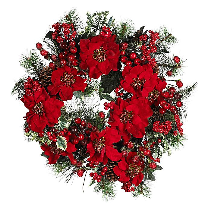 Alternate image 1 for Nearly Natural 24-Inch Artificial Poinsettia Wreath