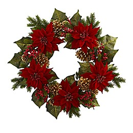 Nearly Natural 24-Inch Poinsettia, Berries and Golden Pine Cone Wreath