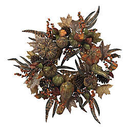 Nearly Natural 28-Inch Autumn Pumpkin Wreath