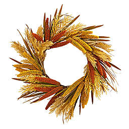 Nearly Natural 25-Inch Sorghum Harvest Wreath