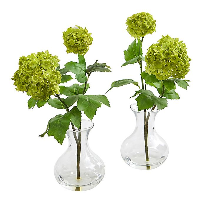 Alternate image 1 for Nearly Natural 11-Inch Artificial Snowball Hydrangea Arrangements in Vase (Set of 2)