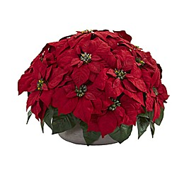 Nearly Natural 14-Inch Poinsettia Artificial Plant in Red with Stone Planter