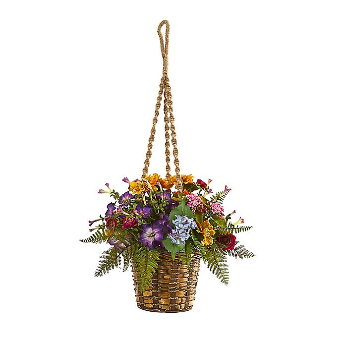 Alternate image 1 for Nearly Natural 14-Inch Artificial Mixed Floral Plant with Hanging Basket
