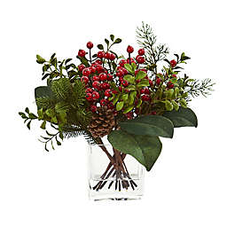 Nearly Natural Berry, Pine and Boxwood Artficial Arrangement