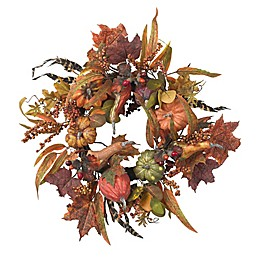 Nearly Natural 24-Inch Pumpkin and Berry Wreath