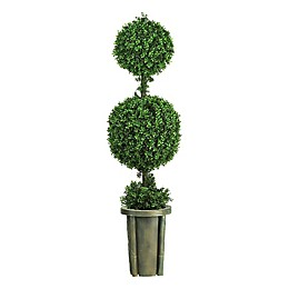 Nearly Natural 5-Foot Artificial Leucodendron Double Ball Topiary with Vase