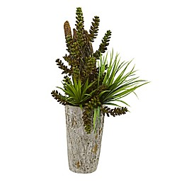 Nearly Natural 21-Inch Artificial Succulent and Grass Arrangement in Weathered Planter