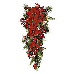 Nearly Natural 30-Inch Poinsettia Teadrop