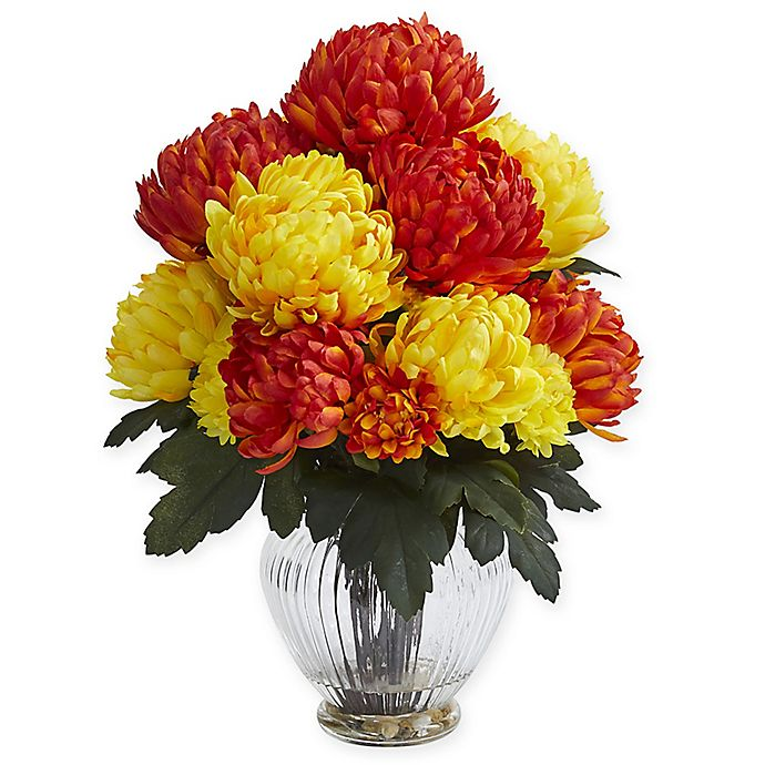 Alternate image 1 for Nearly Natural 15-Inch Artificial Orange/Yellow Mum Arrangement in Vase