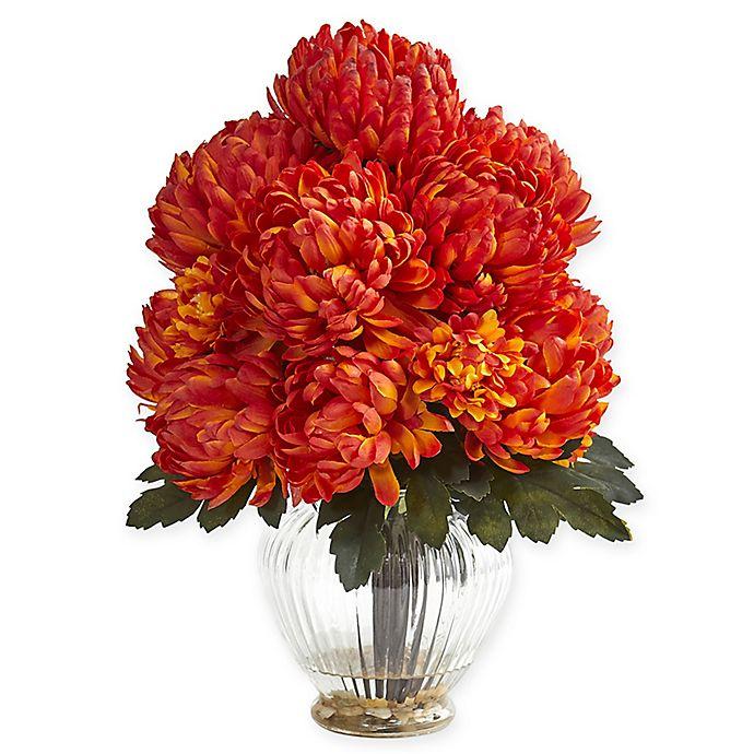 Alternate image 1 for Nearly Natural 15-Inch Artificial Orange Mum Arrangement in Vase