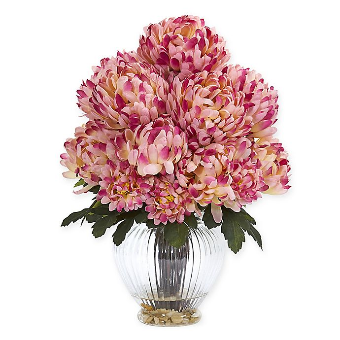 Alternate image 1 for Nearly Natural 15-Inch Artificial Mauve Mum Arrangement in Vase