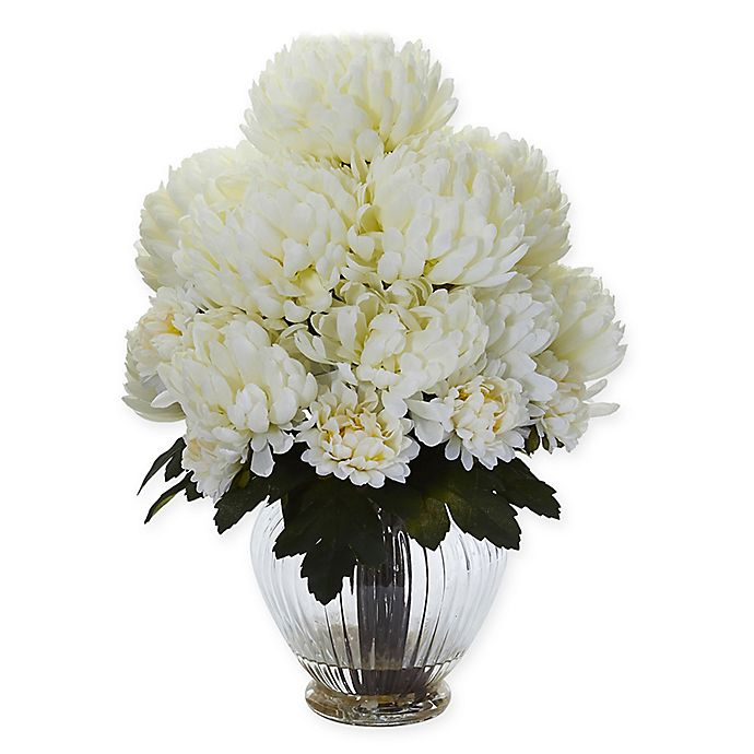 Alternate image 1 for Nearly Natural 15-Inch Artificial Cream Mum Arrangement in Vase