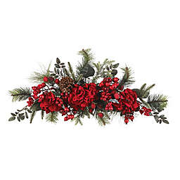Nearly Natural 30-Inch Artificial Crimson Hydrangea Holiday Swag
