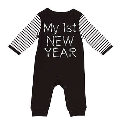 """Baby Starters® """"My First New Year"""" Long Sleeve Coverall in Black/White"""