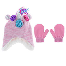 Capelli New York 2-Piece Hat and Mitten Set in Pink