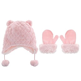 Capelli New York 2-Piece Faux Fur Bunny Hat and Mitten Set in Pink